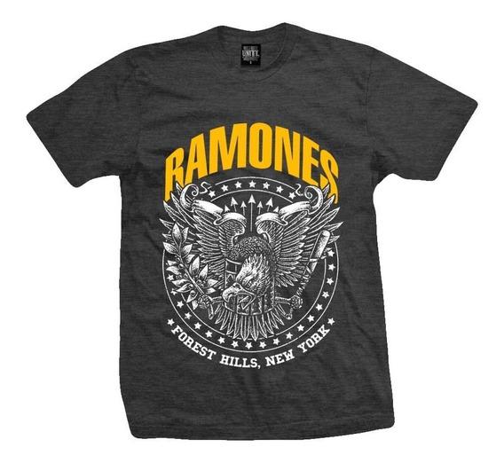 Remera Ramones Forest Hills Gris Melange C / Amarillo