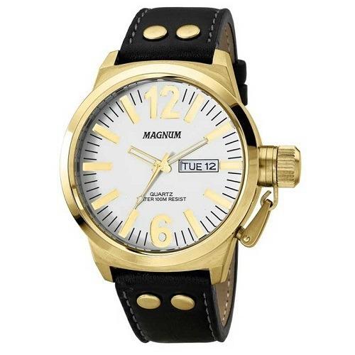 Relógio Magnum Masculino Couro Preto Ma31524b Original