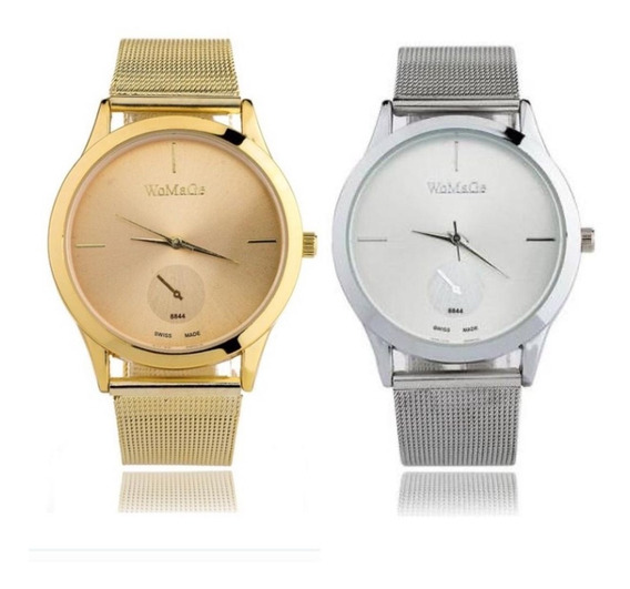 Kit Relógio Feminino Quartz Prateado E Dourado