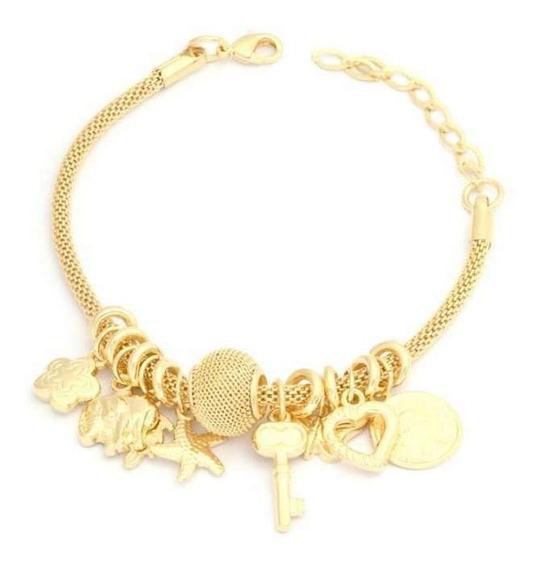 Pulseira Feminina Pandora Dourada Berloque Folheada Ouro 18k