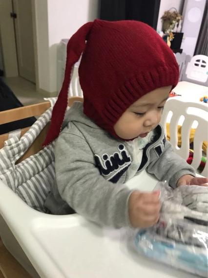 Gorrito Invierno Tejido Orejas Conejo Para Bebe Aborregado