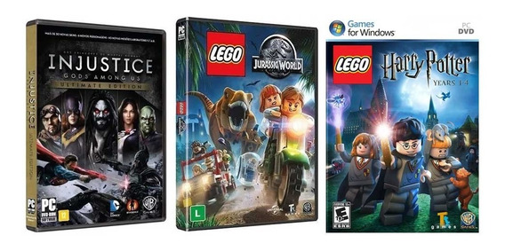Combo Jogos Injustice + Lego Jurassic World + H Potter - Pc