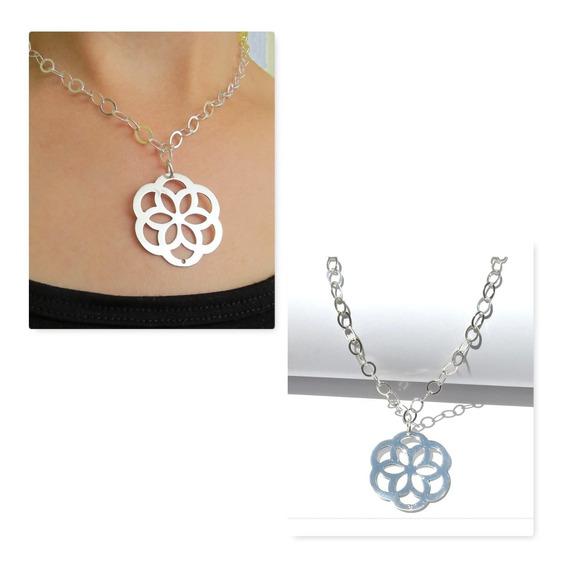 Collar De Plata .925 (en Forma De Flor)