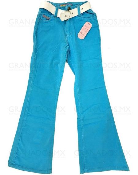 Pantalón Pana Niña Talla 12 Acampanado Cinturón .