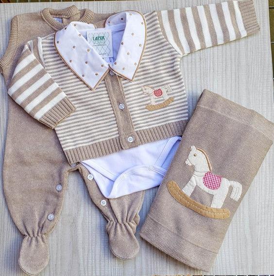 Saída Maternidade 04 Peças Para Menino Listrada - Completa