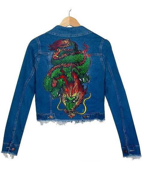 Campera Jean Azul Elastizado Dragon Chino Oriental Pintada