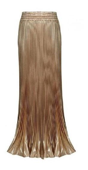 Preciosa Y Elegante Falda Chiffon Oro Metálico, Plisada.