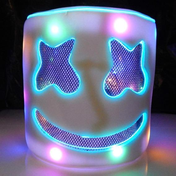 Mascara Casco Marshmello Dj Niños Luz Led Azul Envio Gratis