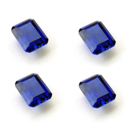 Safira Azul Retângulo 10x8 Mm 4 Pedras 3029cpb