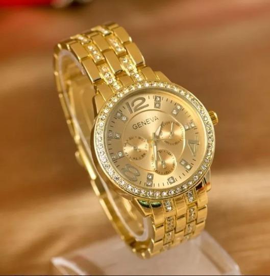 Relógio Dourado Feminino Geneva Pulseira C/ Strass Brilhante