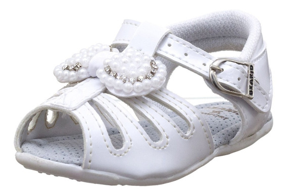 Sandalinha Feminina Infantil Baby Branco Verniz