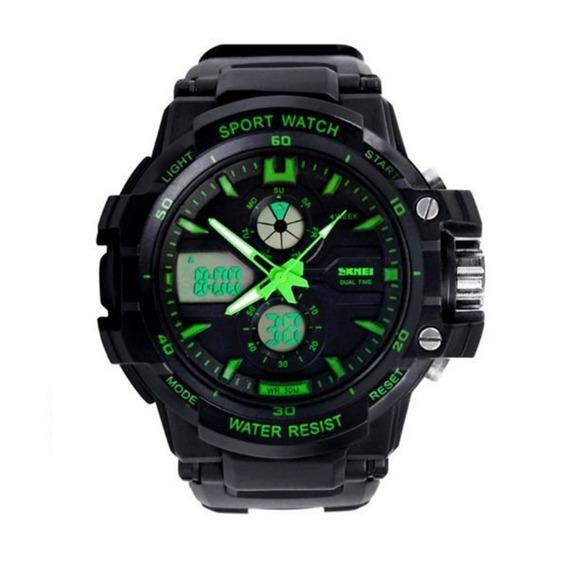 Relógio Para Criança Skmei 0990l Anadigi Preto/verde Com Nf