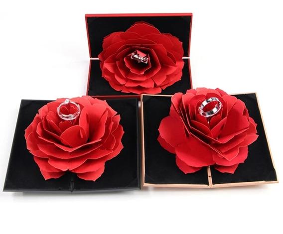 Caja De Regalo Anillo Rosa Para Compromiso Boda 14 Febnegra