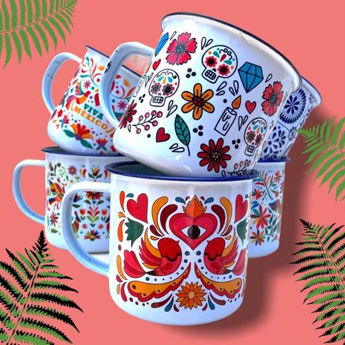 Imagen 1 de 4 de 6 Tazas De Peltre Lotería Mexicana - Diseños Mexicanos