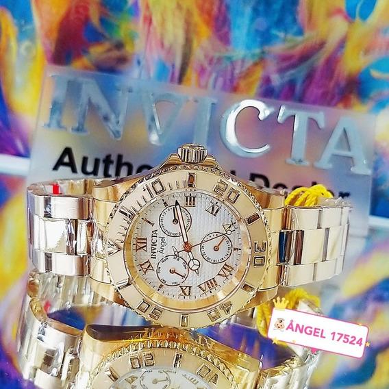Relógio Invicta 17524 Dourado Ouro 18k Feminino * Angel