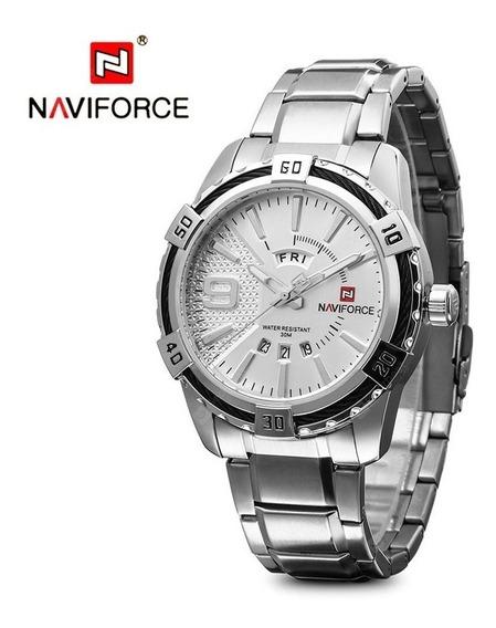 Relógio Masculino Original Naviforce Em Aço Inoxidável