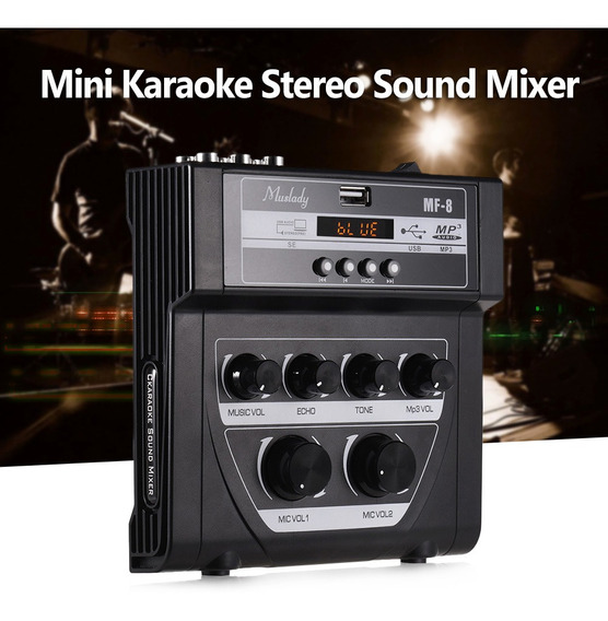 Muslady Mf-8 Mini Karaoke Som Mixer De Áudio Mixers De Eco
