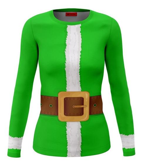 Playera Dama Dry Fit Full Print Traje Verde Duende Navidad