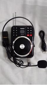 Radio Megafone Gravador Voz Fm/entrada Pen Drive/cartão