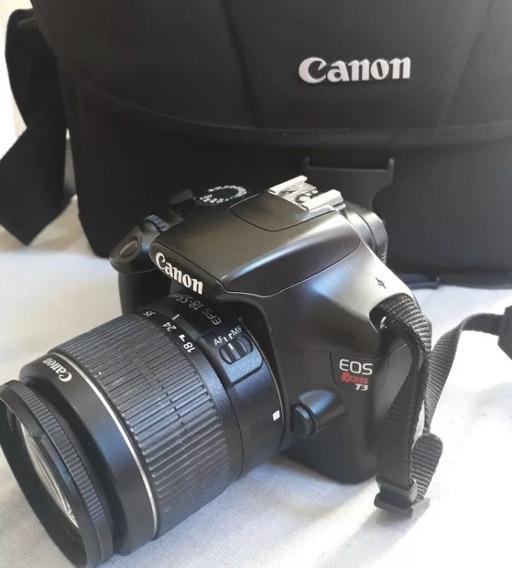 Câmera Rebel T3 Lente 18-55 Canon + Tripé Com Bolsa