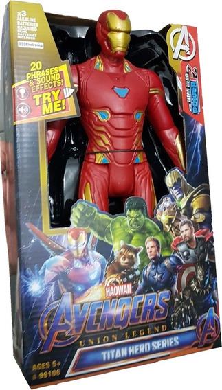 Homem De Ferro Heroes Articulado Musical 30cm Boneco Grande