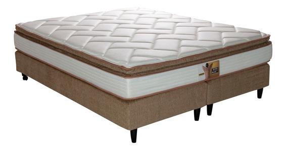 Conjunto Sommier Y Colchon King Koil Finesse 200 X 200 Bases Comfort Marrones Resortes Lfk Pillow Top Tela Jackard Piqué