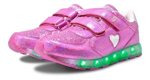 Zapatilla Luces Leds Gummi Niñas Niños Glitter