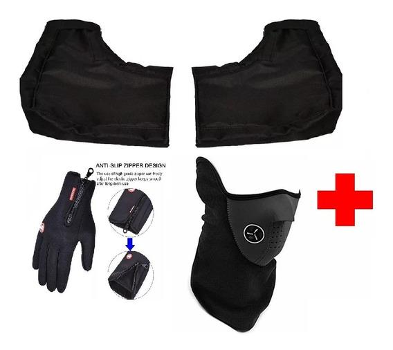 Guantes + Cubre Manos + Mascara Mangas Frio Moto Con Abrigo