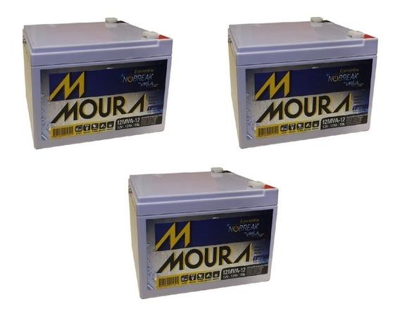 Kit 3 Bateria Moura 12ah 12v Bike Elétrica 6-dzm-10 6-dzm-12