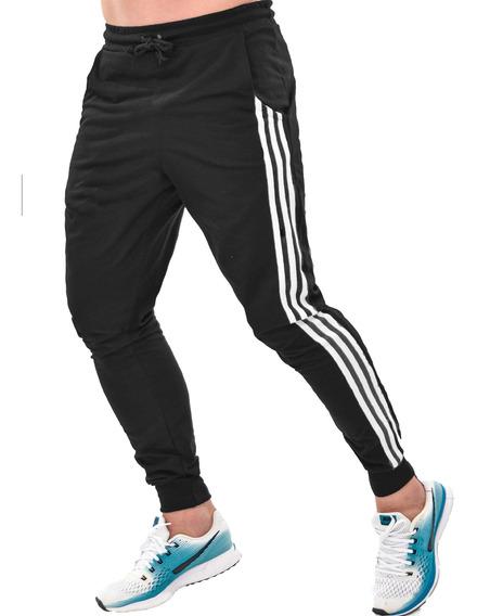 Kit 3 Calças Moletom Skinny Jogger Masculina Listrada Lisa