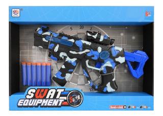 Pistola Camuflada Azul Lanza Dardos C/luz Y Sonido 1748618