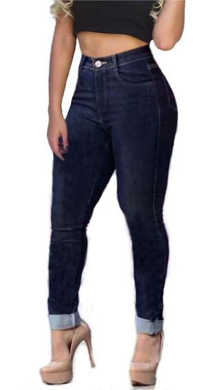 Jeans Feminino Calça Cintura Alta Dins Levanta Bumbum Lycra