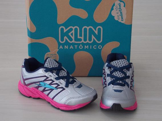Tênis Klin Step Flex Cinza Rosa Lançamento Perfeito Cód: 542