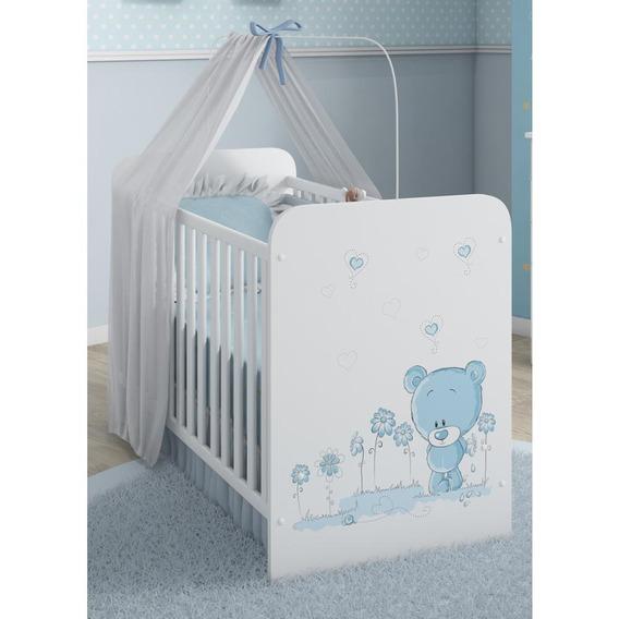 Berço Serpil Kids C-958 Com Mosqueteiro Branco/urso/azul