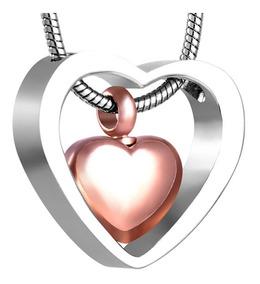 Colar Mini Urna Cremação Coração Rosé Em Aço Inoxidável