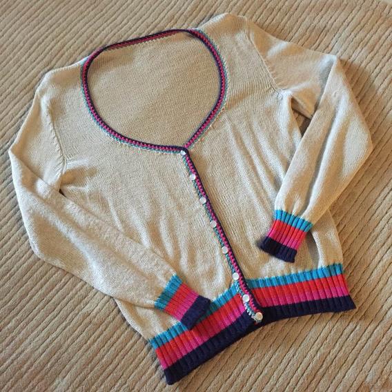 Saquito Cardigan Beige C/ Brillo Dorado Multicolor T. Unico