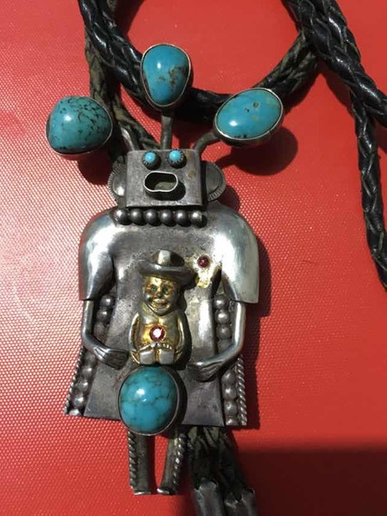 Corbata De Bolo Vintage En Plata Navajo Nativo Americano