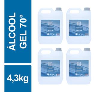 Álcool Gel Antisséptico Higienizador 70 Inpm 4,3kg Kit 4un