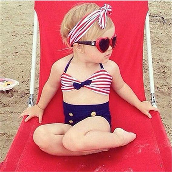 Conjunto Bebê Menina Moda Praia Biquíni Criança Com Laço Moda Verão Roupa Banho Garotas Bebê Estilosa