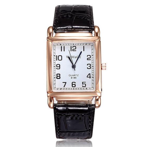 Relógio Retangular Rosê Pulseira Preto + Caixinha Promoção!!