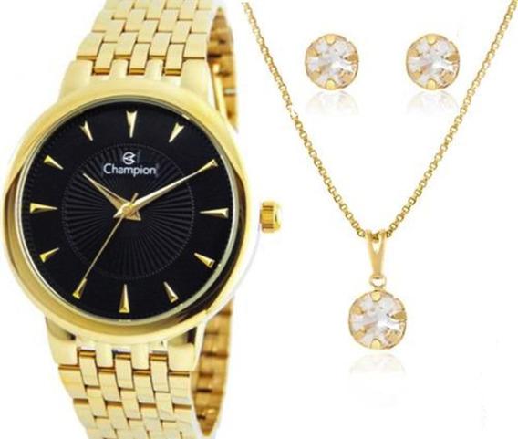 Relógio Champion Feminino Dourado + Colar E Brinco