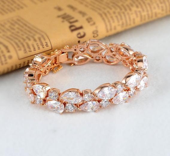 Bracelete Dourado Com Zircônia