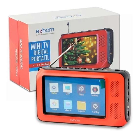 Mini Tv Digital Portátil 4k Fm Mp4 Usb Sd Pendrive Full Hd
