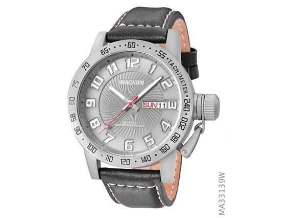 Relógio Masculino Magnum Ma33139w Original Pulseira Couro
