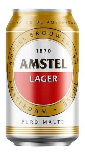 Kit Com 12 Unid Cerveja Amstel 350ml Puro Malte Lager