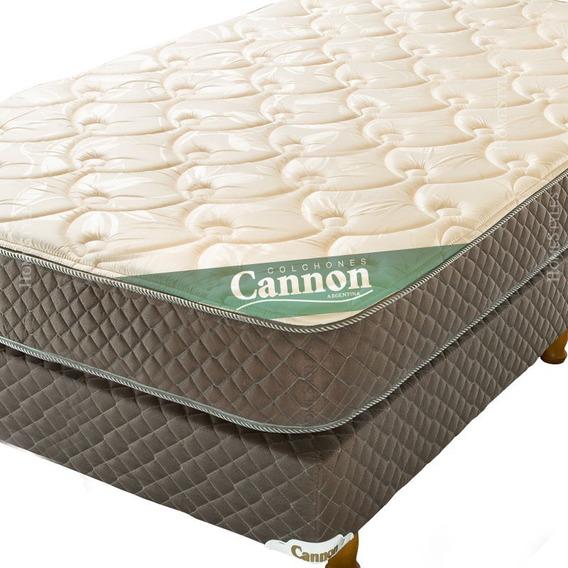 Sommier Y Colchón Cannon Exclusive 100x190 + 30 Kg Densidad