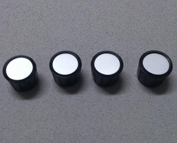 4 Knobs Potenciômetro Estriado Plastico Preto Sem Seta Lb
