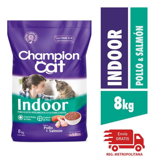 Alimento Para Gatos Champion Indoor Pollo Y Salmon 8kg