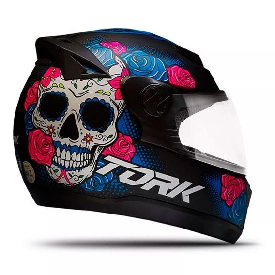 Capacete De Moto Feminino Pro Tork G7 Mexican Skull Fechado