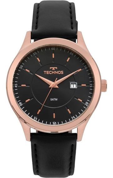 Relógio Technos Masculino Rose Pulseira De Couro 2115mps/2p